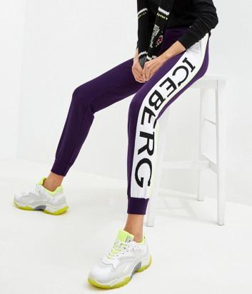 Трикотажные штаны ICEBERG AB037010 фиолетовые с логотипом