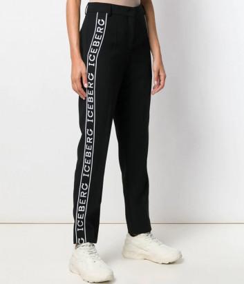 Черные брюки ICEBERG B1525395 с лампасами и логотипом