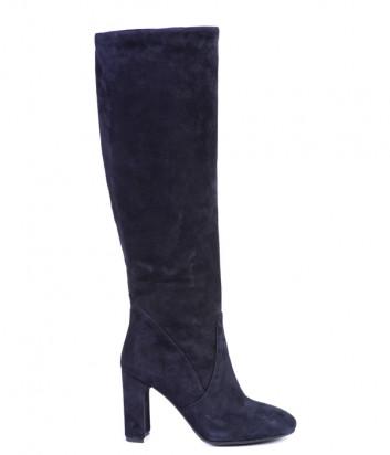 Замшевые сапоги Helena Soretti 7122 на устойчивом каблуке синие