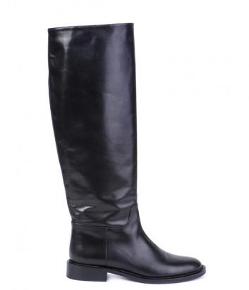 Кожаные сапоги Helena Soretti 7135 на низком каблуке черные