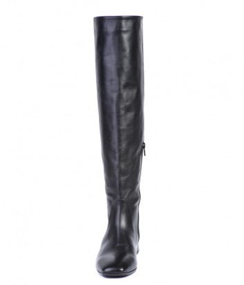 Кожаные сапоги Helena Soretti 7111 на низком каблуке черные