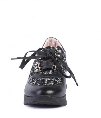 Кожаные кроссовки Helena Soretti 3111 с твидовыми вставками черные