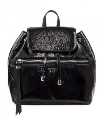 Лаковый рюкзак Tosca Blu TF1943B53 с внешним карманом черный