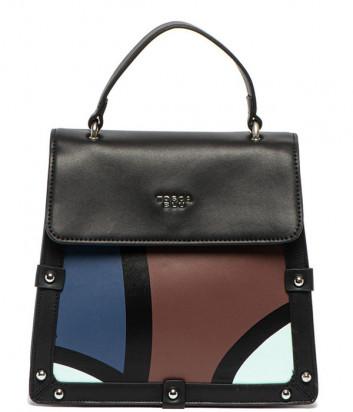 Кожаный рюкзак-сумка Tosca Blu TF19DB172 черный с синим рисунком