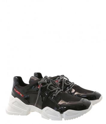 Лаковые кроссовки Tosca Blu SF1905S083 на рельефной подошве черные