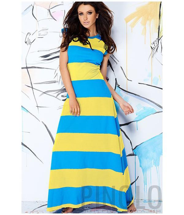 6c664bb19795 Длинное платье Pigeon 108 в желто-голубую полоску - купить в Киеве и ...