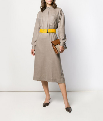 Бежевое платье-рубашка Erika Cavallini P9AF03 с желтым поясом