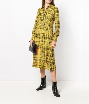 Платье-рубашка Erika Cavallini P9A503 желтое с принтом