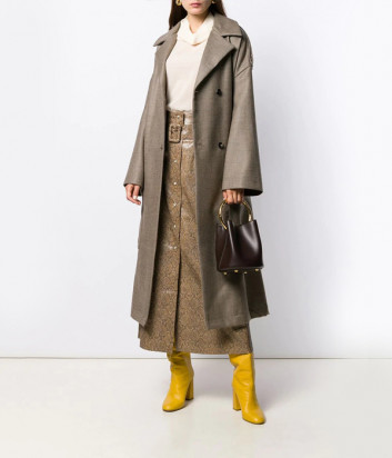 Пальто оверсайз Erika Cavallini P9A104 коричневое