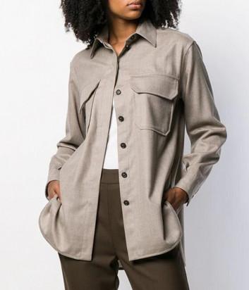 Рубашка из шерсти Erika Cavallini P9AF01 с карманами бежевая