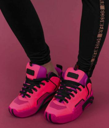 Кожаные кроссовки GCDS FW20W010010 с логотипом на танкетке розовые