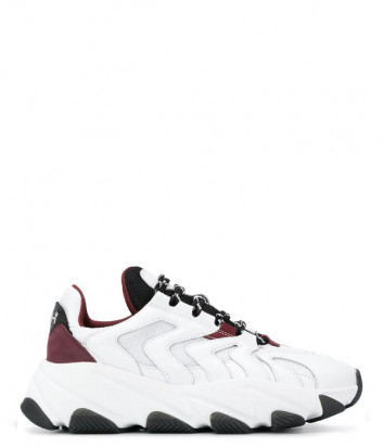 Кожаные кроссовки ASH Extreme белые с красными вставками