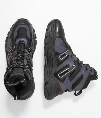 Высокие кроссовки ASH Fiction черные с переливом