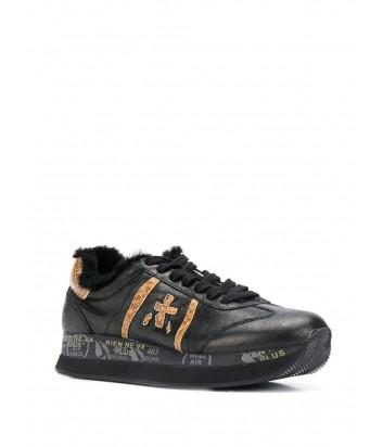Кожаные кроссовки на меху Premiata Conny черные с принтом