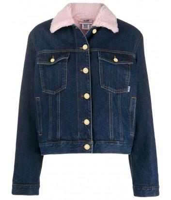 Синяя джинсовая куртка GCDS FW20W040051 с розовым воротником