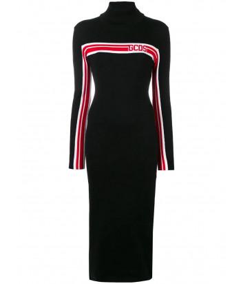 Длинное трикотажное платье GCDS CC94U020059 с горловиной черное