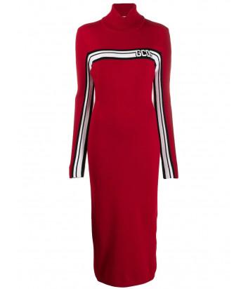 Длинное трикотажное платье GCDS CC94U020059 с горловиной красное