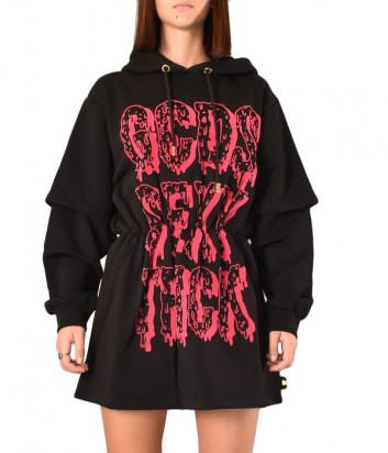 Спортивное платье GCDS FW20W020010 черное с розовыми надписями