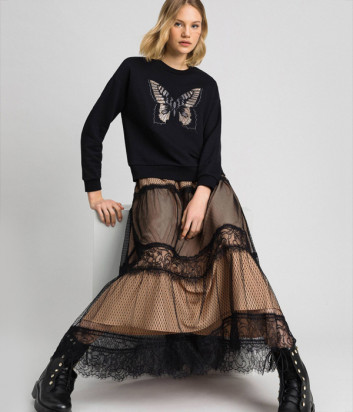 Длинная юбка TWIN-SET 192TP2333 черно-бежевая