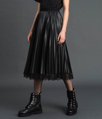 Плиссированная юбка TWIN-SET 192TP2064 из экокожи черная