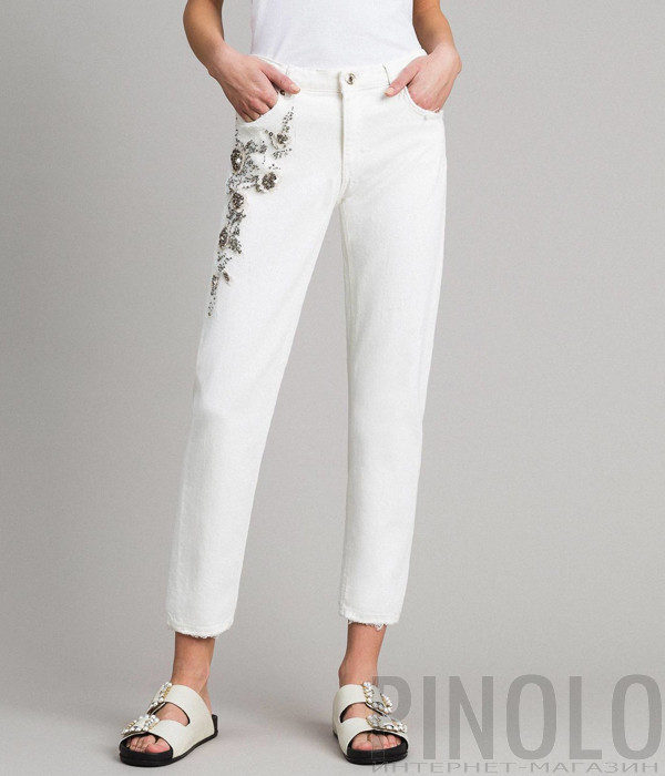 Белые джинсы TWIN-SET 191TT2520 с вышивкой