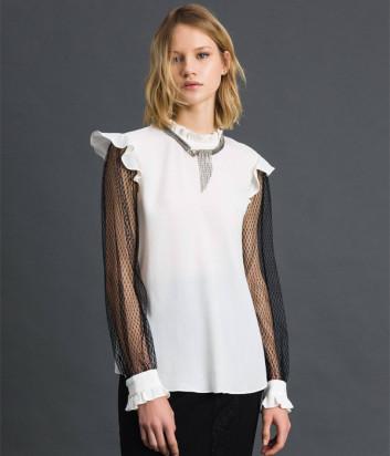 Белая блуза TWIN-SET 192TP2362 с черными рукавами