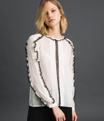Белая блуза TWIN-SET 192TP2571 с черным рюшем