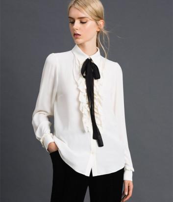 Белая блуза TWIN-SET 192TT2431 с черным съемным бантом