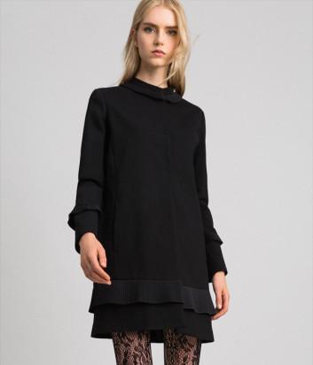 Черное пальто TWIN-SET 192TT2060 с круглой горловиной
