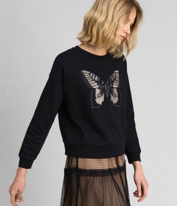 Черная толстовка TWIN-SET 192TP2732 с вышивкой в виде бабочки