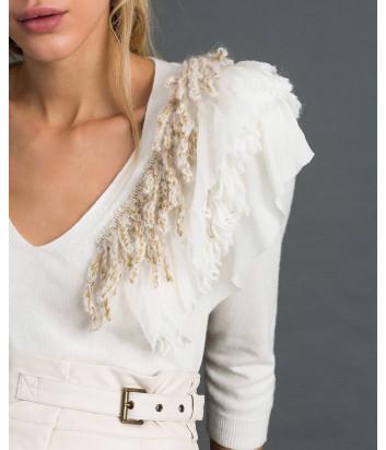 Белая кофта TWIN-SET 192TT3304 декорирована бахромой на плече