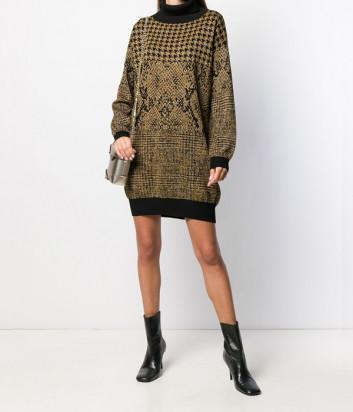 Трикотажное платье-джемпер TWIN-SET 192TT3290 черное с золотым узором