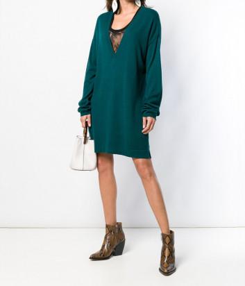 Платье-свитер TWIN-SET YA83KC изумрудное с черным кружевом