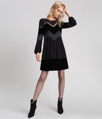 Платье TWIN-SET 192TT2281 с бархатными вставками черное