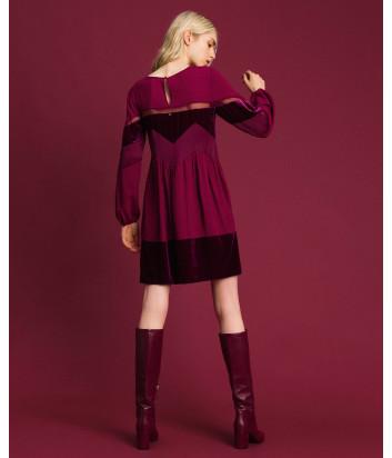 Платье TWIN-SET 192TT2281 с бархатными вставками вишневое