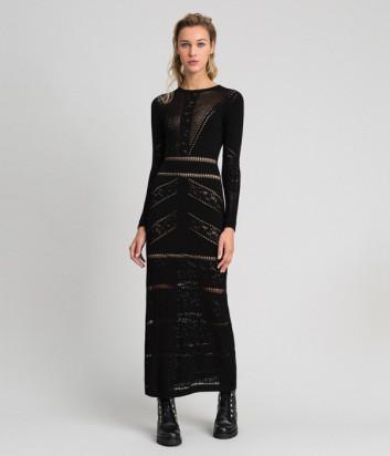 Длинное ажурное платье TWIN-SET 192TT3210 облегающего кроя черное