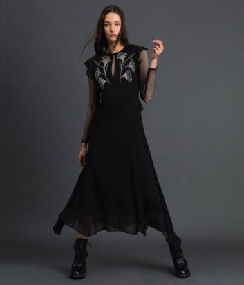 Длинное платье TWIN-SET 192TP2161 черное с вышивкой