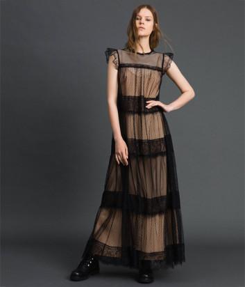 Длинное платье TWIN-SET 192TP2332 бежевое с черным кружевом