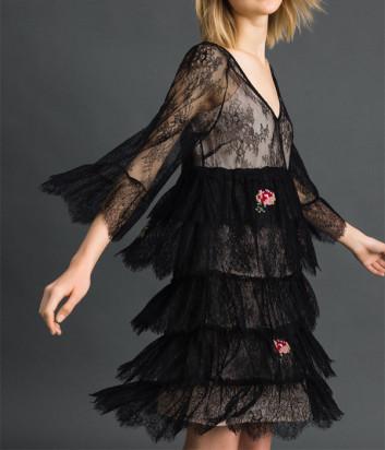 Кружевное платье TWIN-SET 192TP2586 черное с цветочной вышивкой