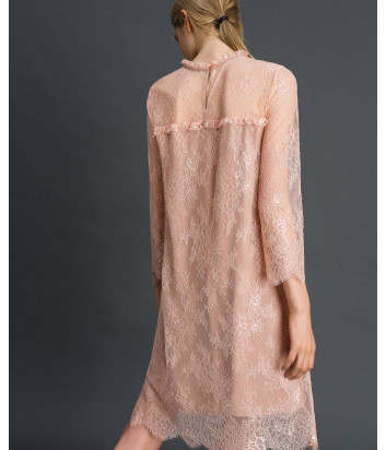 Кружевное платье TWIN-SET 192TP2587 пудровое с цветочной вышивкой