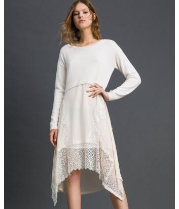 Трикотажное платье TWIN-SET 192TT3081 с кружевом кремовое