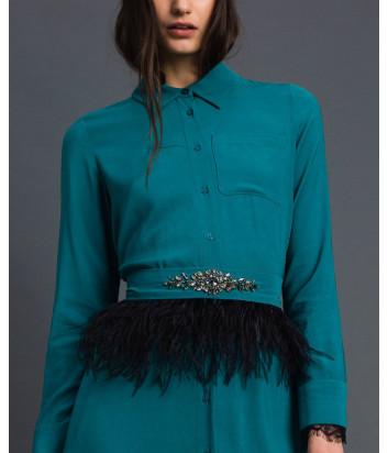 Платье TWIN-SET 192TP2113 со съемным поясом с отделкой из перьев