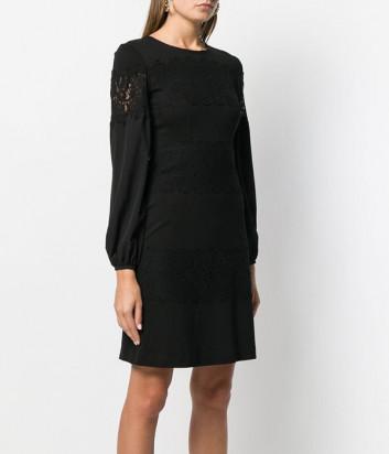 Платье TWIN-SET 192TT2211 с кружевными вставками черное