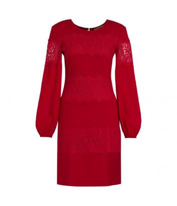 Платье TWIN-SET 192TT2211 с кружевными вставками красное
