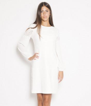Платье TWIN-SET 192TT2211 с кружевными вставками кремовое