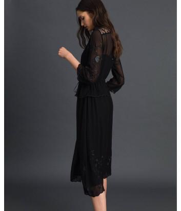 Длинное платье TWIN-SET 192TP2340 черное с вышивкой
