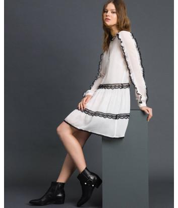 Платье TWIN-SET 192TP2573 белое с черным рюшем
