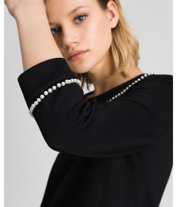 Черное платье TWIN-SET 192TP2081 расшитое жемчужинами