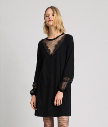 Трикотажное платье TWIN-SET 192TP3170 с кружевом черное