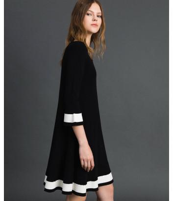 Черное платье TWIN-SET 192TP3102 с белой контрастной полоской